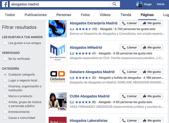 Valoraciones de abogados en Facebook