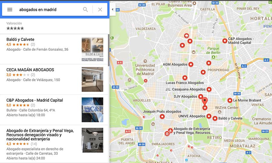 Valoraciones de Abogados en Google Maps