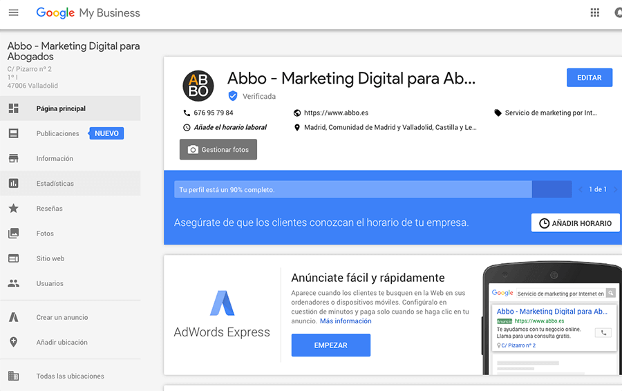 Gestionar despacho de abogados en Google My Business