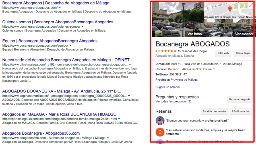 Google My Business: Bocanegra Abogados