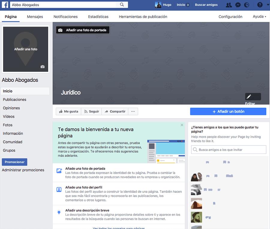 Configurar información de despacho de abogados en página de Facebook