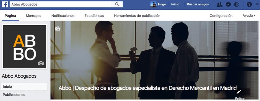Configurar portada de página de Facebook para despacho de abogados