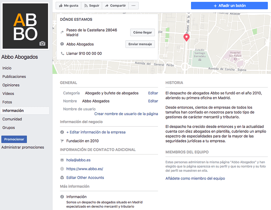 Modificar información de despacho de abogados en página de Facebook