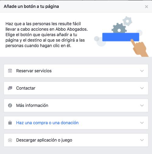 Personalizar botón principal página de Facebook para abogados