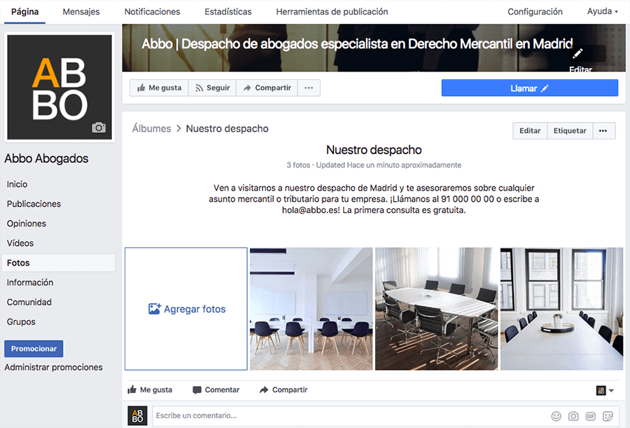 Álbumes de fotos para despachos de abogados en Google My Business