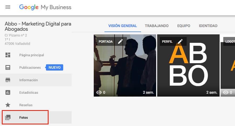 Google My Business fotos de despachos de abogados