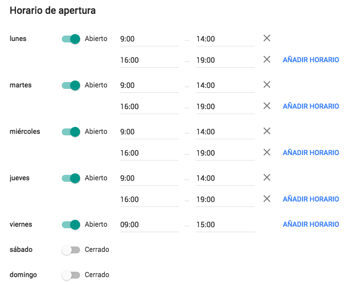 Horario de apertura de despacho de abogados en Google My Business