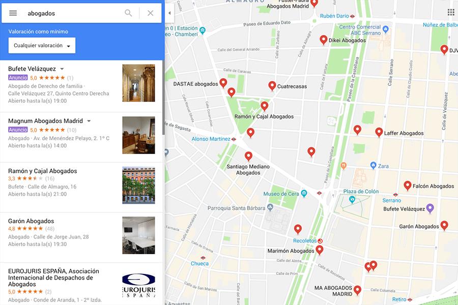 Búsqueda de abogados en Google Maps