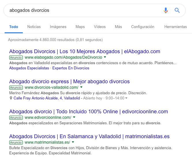 Google Adwords abogados