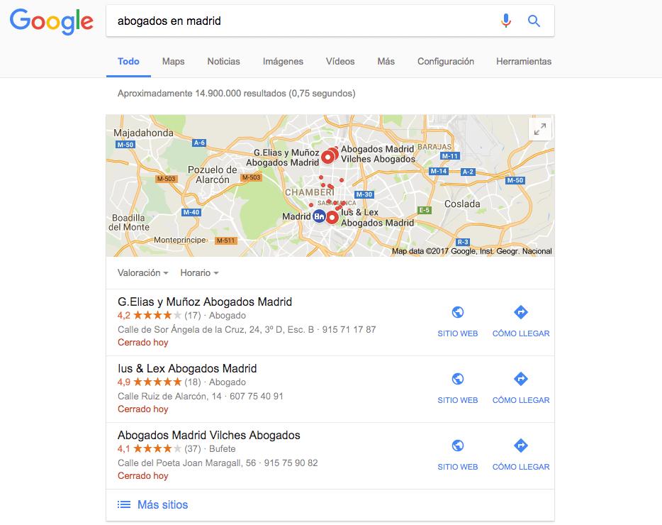 Despachos de abogados en Google Maps