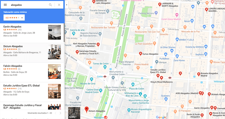 Buscar abogado en Google Maps