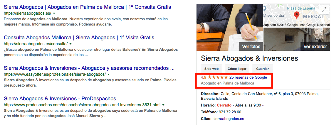 Valoraciones en Google My Business de Sierra Abogados & Inversiones